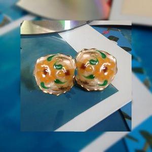 4/$15! Vintage Handpainted Gold Flower Earrings